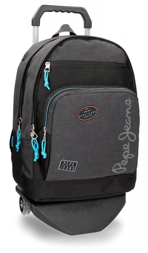 61124N1 mochila doble con carro pepe jeans teo