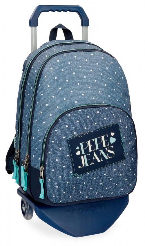61524N1 mochila doble con carro pepe jeans olaia azul