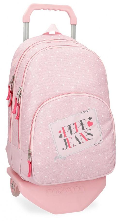 61524N2 mochila doble con carro pepe jeans olaia rosa