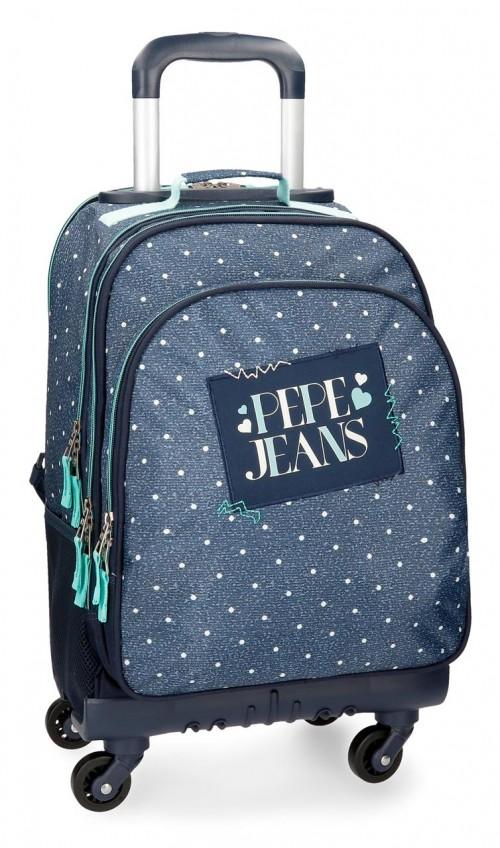 6152861 mochila 4 ruedas pepe jeans olaia azul