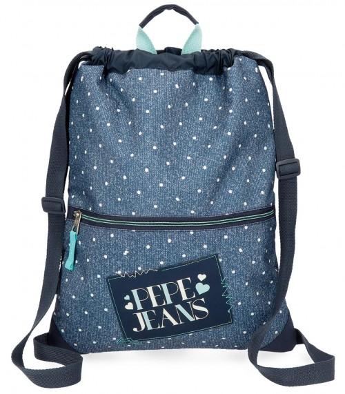 6153761 gym sac con cremallera pepe jeans olaia azul