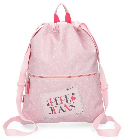 6153762 gym sac con cremallera pepe jeans olaia rosa