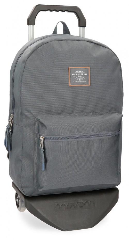 62223N5 mochila con carro pepe jeans cross gris