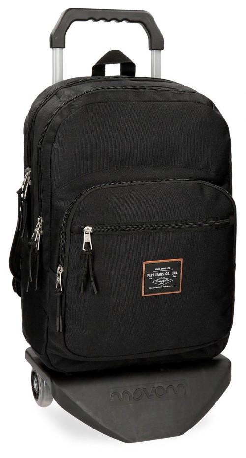 62224N1 mochila doble con carro pepe jeans cross negra