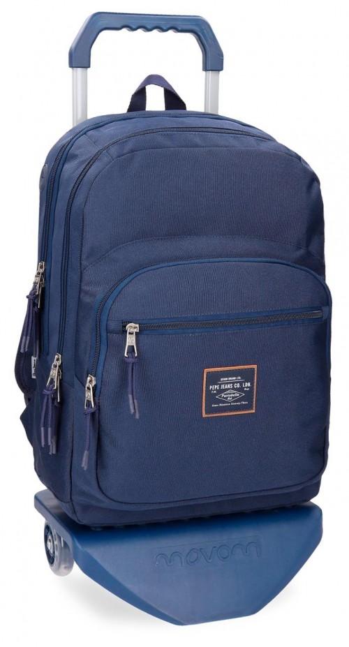 62224N2 mochila doble con carro pepe jeans cross azul