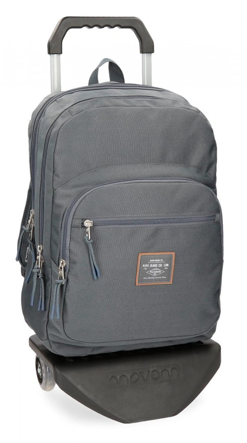 62224N5 mochila doble con carro pepe jeans cross gris