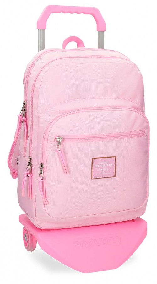 62224N9 mochila doble con carro pepe jeans cross rosa