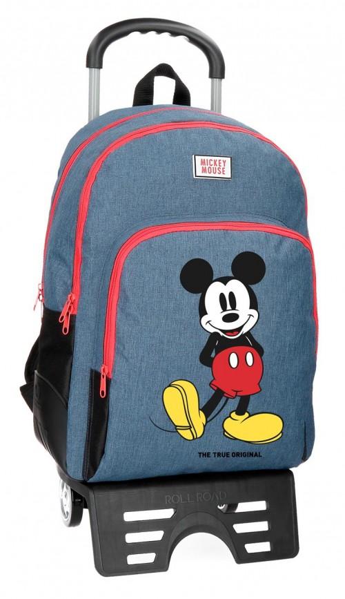 43726N1 mochila doble reforzada de 44 cm mickey blue con carro