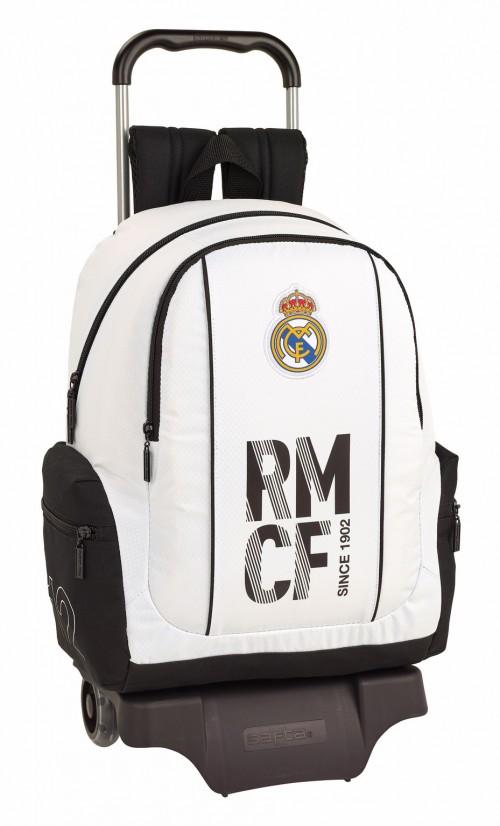 611854313 Mochila Real Madrid primera división con bolsos laterales y carro