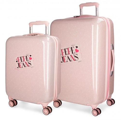 6157262 juego maletas cabina y mediana  pepe jeans olaia rosa