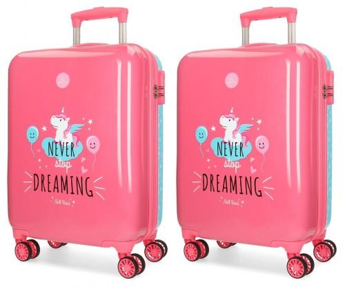 44217P1 juego maletas cabina y mediana unicorn coral