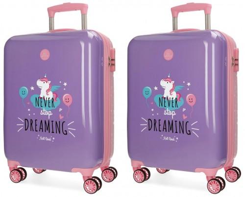 44217P2  juego maletas cabina y mediana unicorn lila