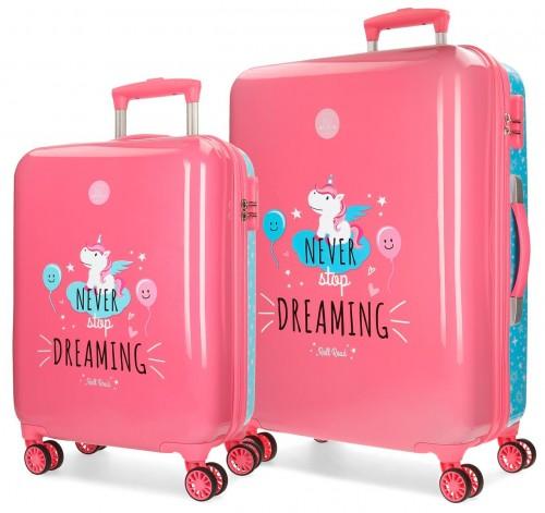 4421961  juego maletas cabina y mediana unicorn coral