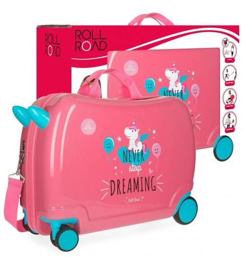 44298C1 maleta infantil 4 ruedas unicrn coral con caja