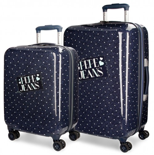 6157261 juego maletas cabina y mediana  pepe jeans olaia azul