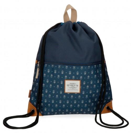6233861 gym sac con cremallera pepe jeans carola azul