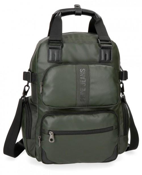 7352463 mochila portaordenador  pepe jeans bromley verde