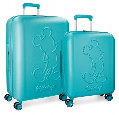 3418962 juego maletas cabina y mediana mickey premium turquesa