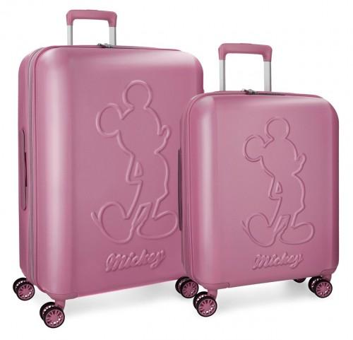 3418963 juego maletas cabina y mediana mickey premium rosa