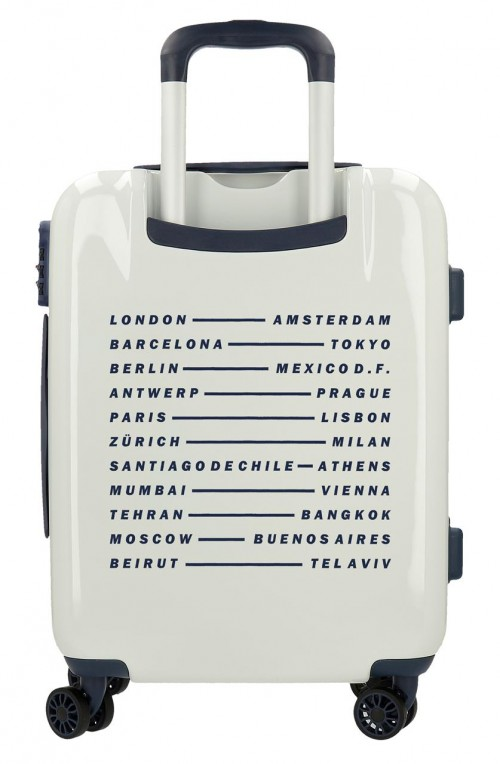 7681061 maleta cabina pepe jeans luggage blanco trasera