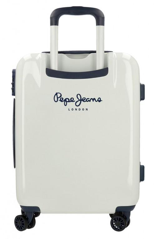 7681161 maleta cabina pepe jeans luggage london blanca  trasera