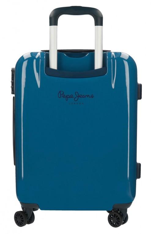 7681262 maleta cabina pepe jeans luggage perfect azul trasera