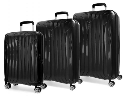5889461 juego maletas cabina movom fuji negro en polipropileno