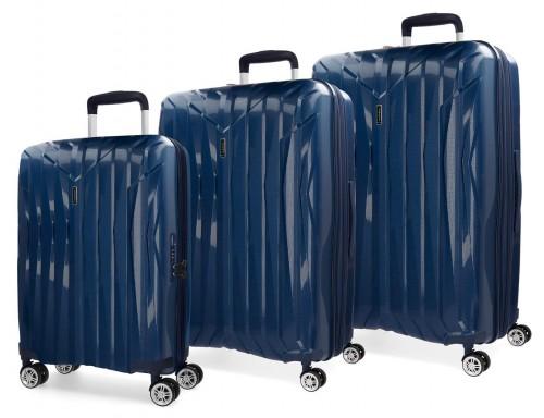 5889462 juego maletas cabina, mediana y grande movom fuji azul marino en polipropileno