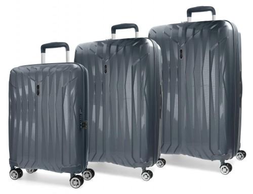5889463 juego maletas cabina, mediana y grande movom fuji gris en polipropileno