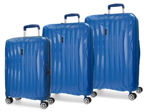 5889464 juego maletas cabina, mediana y grande movom azul polipropileno