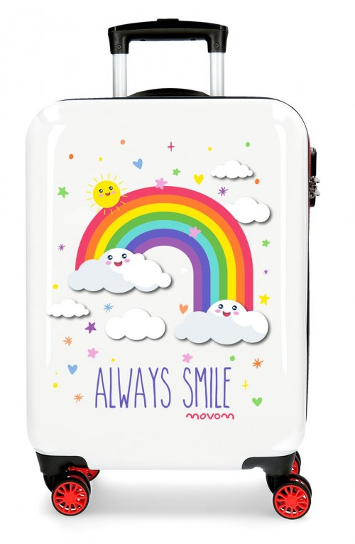2181722 maleta de cabina arcoiris movom always smile blanco