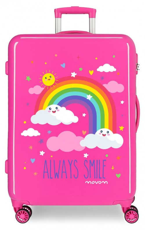2181821 maleta mediana arcoiris movom always smile rosa