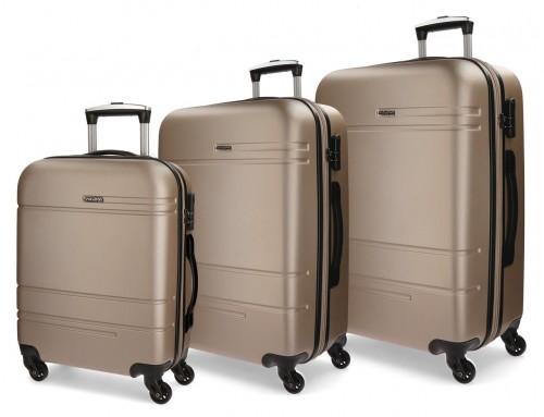 5619463  juego maletas cabina, mediana y grande movom galaxy  champagne