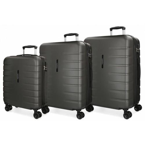 5829462 juego maletas cabina + mediana + grande movom turbo gris