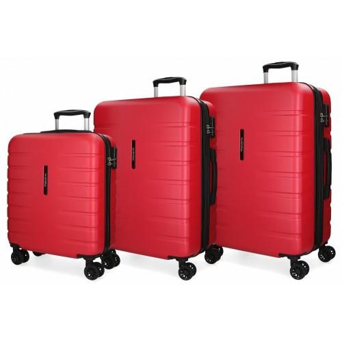5829463 juego maletas cabina + mediana + grande movom turbo rojo