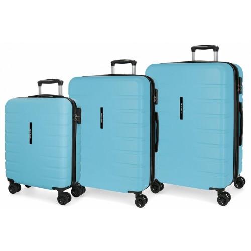 5829466  juego maletas cabina + mediana + grande movom turbo celeste
