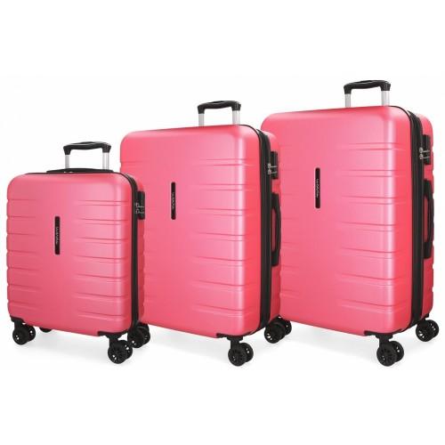 5829467  juego maletas cabina + mediana + grande movom turbo rosa