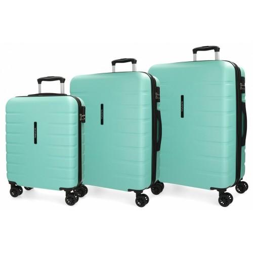 5829468  juego maletas cabina + mediana + grande movom turbo turquesa