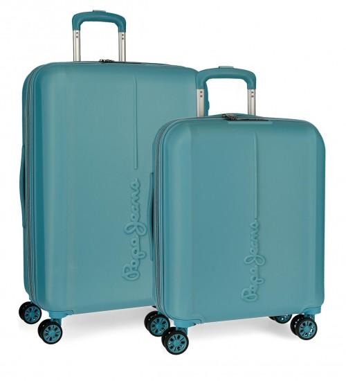 5948962  juego maletas cabina y mediana pepe jeans glasgow azul