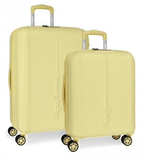 5948964  juego maletas cabina y mediana pepe jeans glasgow amarillo