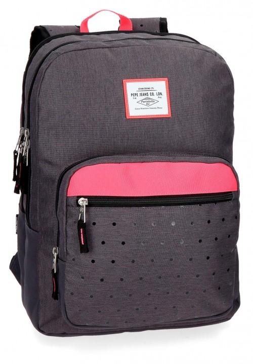 6282461 mochila 44 cm doble comp. pepe jeans molly negro