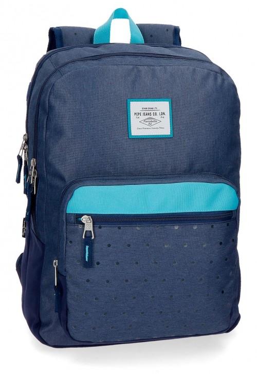 6282462 mochila 44 cm doble comp. pepe jeans molly azul