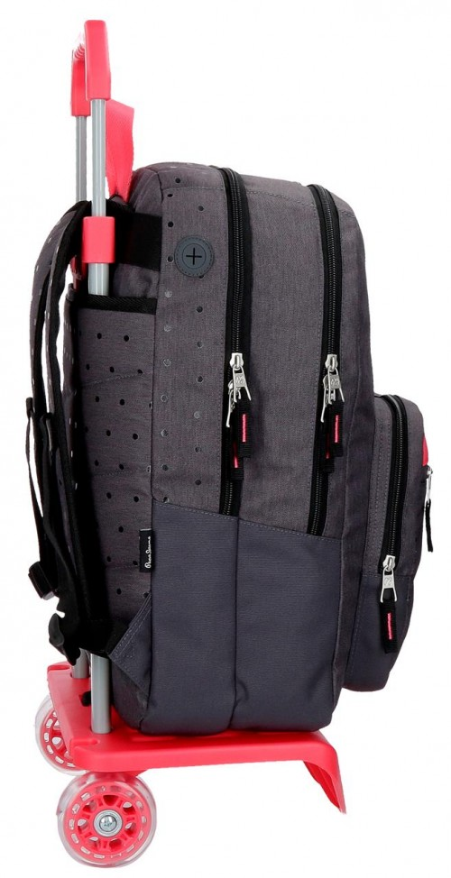 62824N1 mochila 45 cm 2 comp. carro pepe jeans moly negro lateral