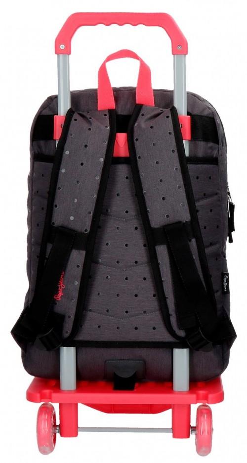 62824N1 mochila 45 cm 2 comp. carro pepe jeans moly negro trasera