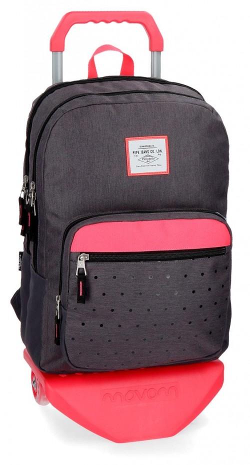 62824N1 mochila 45 cm 2 comp. carro pepe jeans moly negro