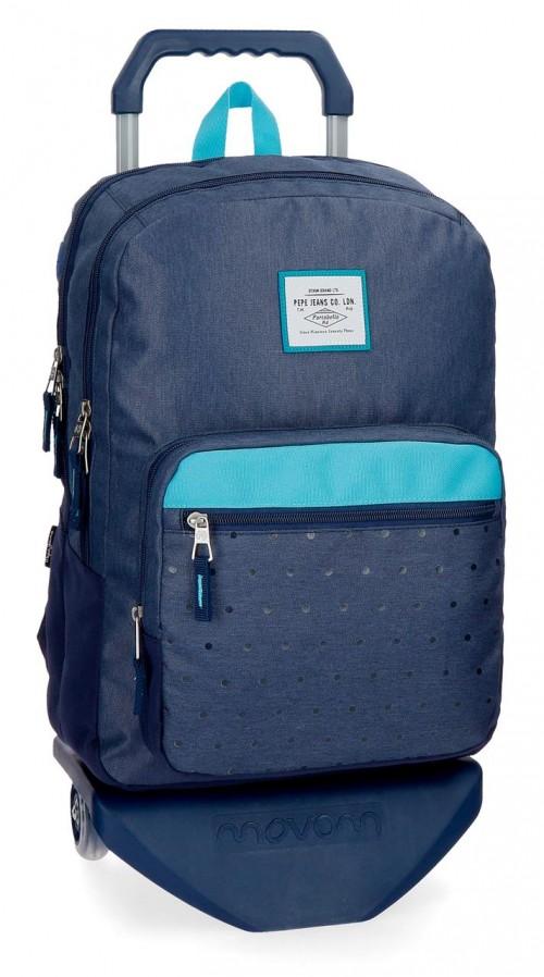 62824N2  mochila 45 cm 2 comp. carro pepe jeans moly  azul