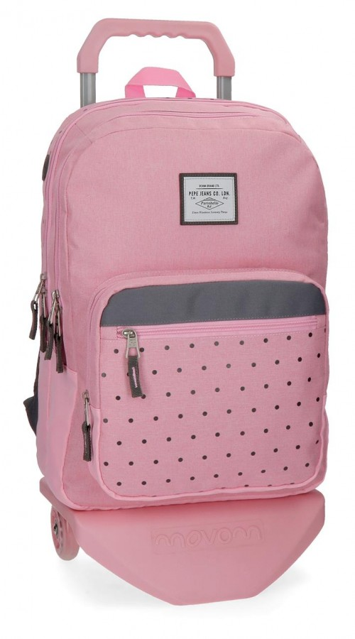 62824N3 mochila 45 cm 2 comp. carro pepe jeans moly rosa