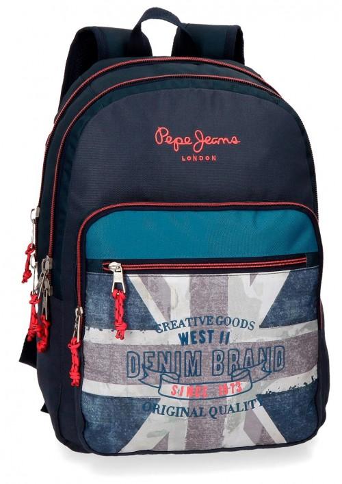 6312461 mochila 44 cm doble comp. pepe jeans ian