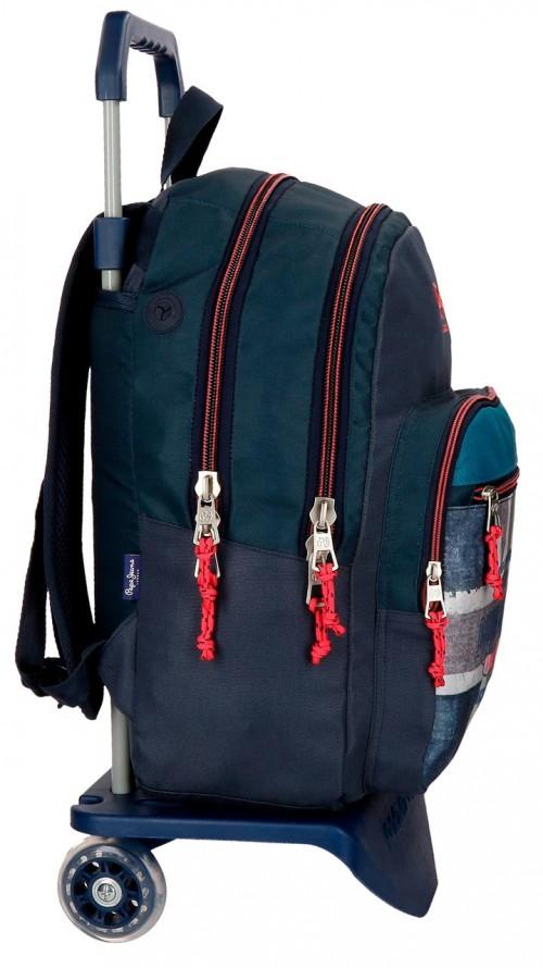 63124N1 mochila 44 cm doble con carro pepe jeans ian lateral