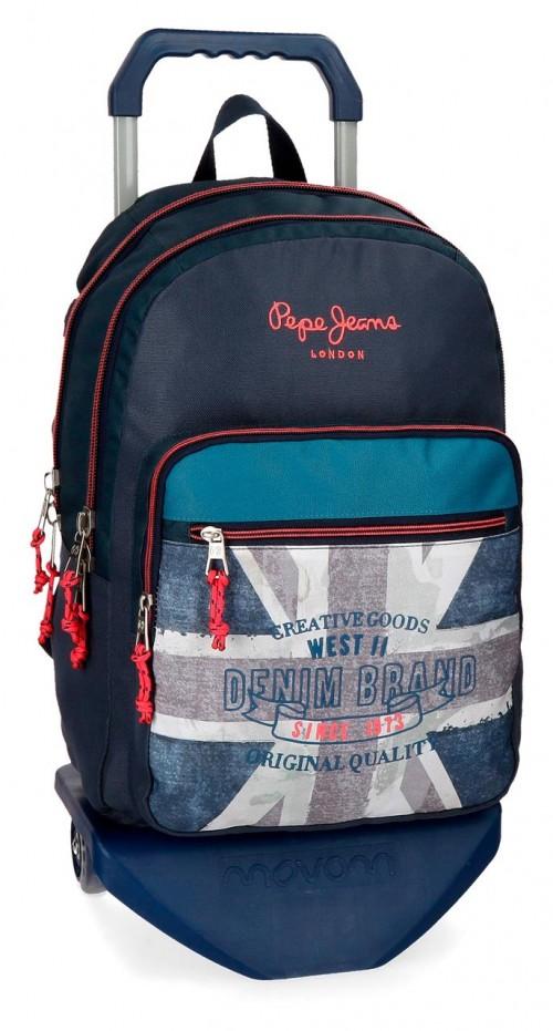 63124N1 mochila 44 cm doble con carro pepe jeans ian